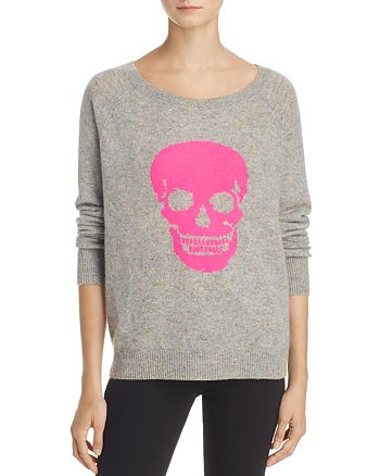 AQUA - Cashmere Skull Donegal Sweater - 100% Exclusive