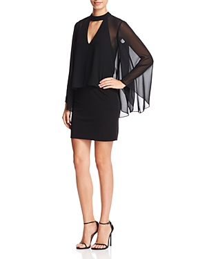 Laundry by Shelli Segal Chiffon-Overlay Bell Sleeve Dress