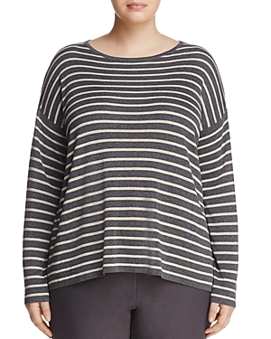Eileen Fisher Plus Boxy Stripe Sweater