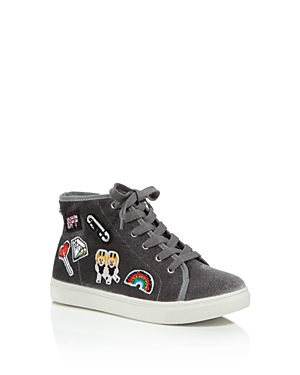 Steve Madden Girls' High-Top Velvet Sneakers with Patch Details - Little Kid, Big Kid