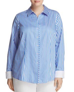 Foxcroft Plus Lauren Long Sleeve Stripe Top