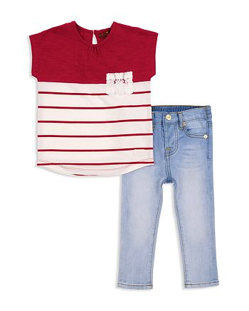 7 For All Mankind - Girls' Color-Block Tee & Skinny Jeans Set - Little Kid