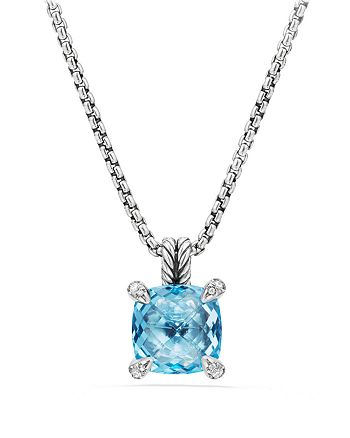 David Yurman - Châtelaine® Pendant Necklace with Blue Topaz and Diamonds