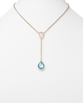 """Bloomingdale's - Blue Topaz and Rose Quartz Y Necklace in 14K Yellow Gold, 18"""" - 100% Exclusive"""