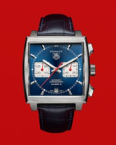 """TAG Heuer - TAG Heuer """"Monaco"""" Square Watch with Alligator Strap, 39mm"""