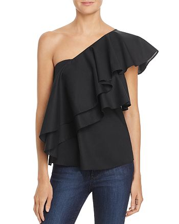 MILLY - Cascade Ruffle One-Shoulder Top