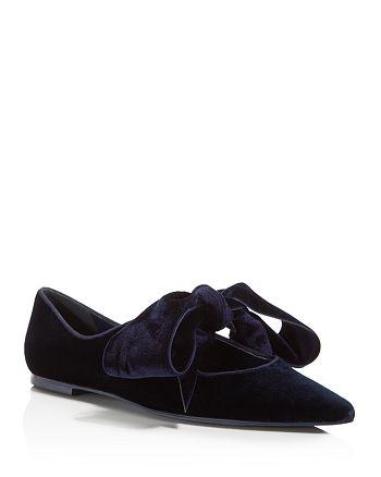 5ae4536ea7d049 Tory Burch - Clara Velvet Pointed Toe Tie Flats