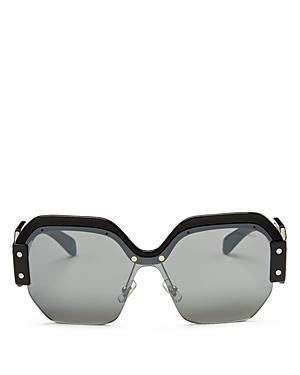 Miu Miu Sorbet Mirrored Oversize Square Sunglasses, 135mm