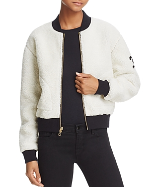 Juicy Couture Black Label Faux Shearling & Velour Reversible Bomber Jacket