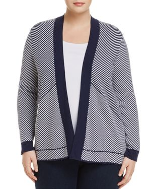 Foxcroft Plus Mixed Stripe Open-Front Cardigan
