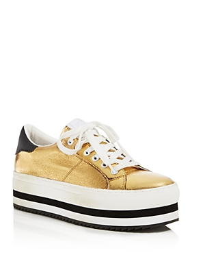 Marc Jacobs Grand Metallic Leather Platform Lace Up Sneakers