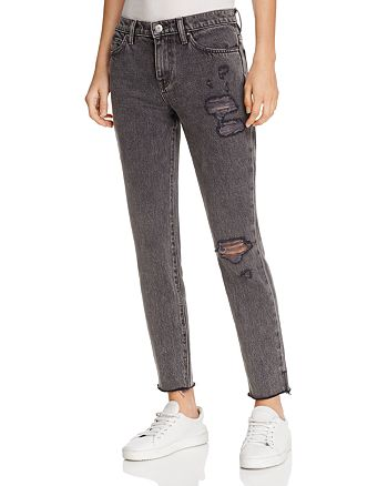 IRO.JEANS - Lana Distressed Straight-Leg Jeans in Black