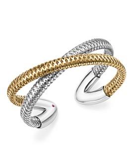 Roberto Coin - 18K White and Yellow Gold Primavera Cross Cuff Bracelet - 100% Exclusive
