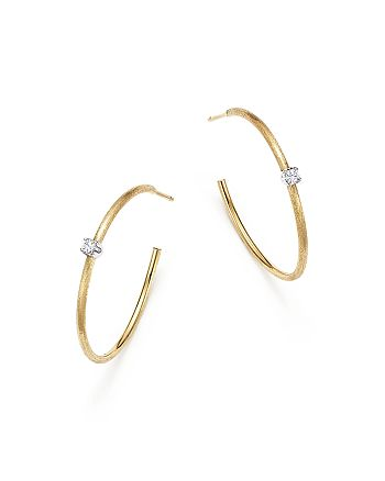 Marco Bicego - 18K White Gold and 18K Yellow Gold Luce Diamond Station Hoop Earrings - 100% Exclusive
