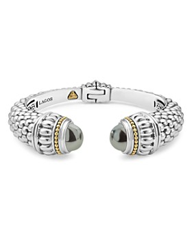 LAGOS - Sterling Silver & 18K Yellow Gold Caviar Large Cuff Bracelet with Hematite