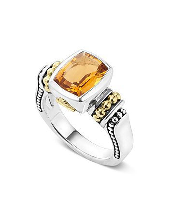 LAGOS - 18K Gold and Sterling Silver Caviar Color Small Citrine Ring