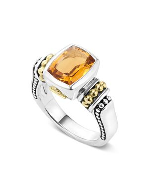Lagos 18K Gold and Sterling Silver Caviar Color Small Citrine Ring