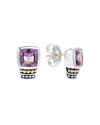 LAGOS - 18K Gold and Sterling Silver Caviar Color Stud Earrings with Amethyst