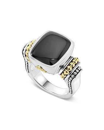 LAGOS - 18K Gold and Sterling Silver Medium Onyx Ring