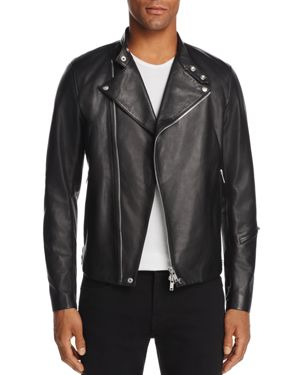Theory Draped-Front Leather Motorcycle Jacket