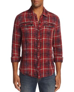John Varvatos Star Usa Plaid Snap-Front Slim Fit Shirt