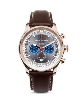 JACK MASON Nautical Chronograph Leather Strap Watch, 42Mm in Grey/ Brown