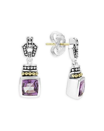 LAGOS - 18K Gold and Sterling Silver Caviar Color Amethyst Drop Earrings