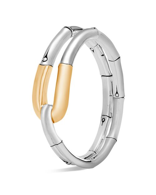 JOHN HARDY - 18K Yellow Gold and Sterling Silver Bamboo Flex Cuff