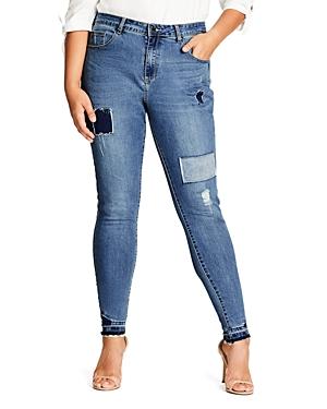 New City Chic Patchwork Skinny Jeans in Mid Denim, Mid Denim