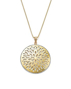 "Bloomingdale's - 14K White and Yellow Gold Flower Burst Pendant Necklace, 24"" - 100% Exclusive"