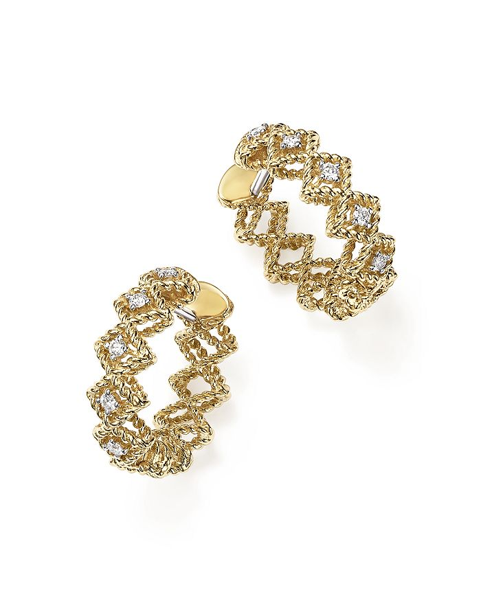 Roberto Coin - 18K Yellow Gold New Barocco Diamond Hoop Earrings