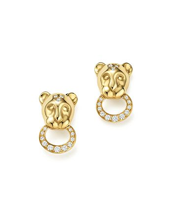 Temple St. Clair - 18K Yellow Gold Lion Cub Pavé Diamond Earrings