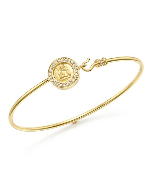 Temple St. Clair - 18K Yellow Gold Mini Angel Pavé Diamond Bracelet