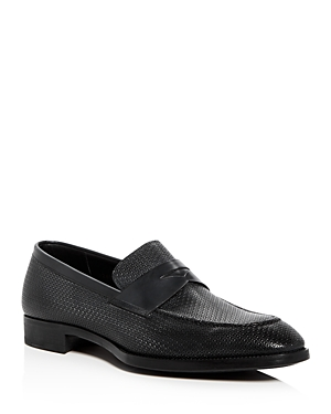 Armani Men's Embossed Leather Penny Loafers