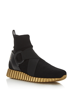 Salvatore Ferragamo Gancini Belted Stretch Sock Sneakers