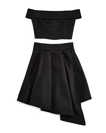 Miss Behave - Girls' Off-the-Shoulder Top & Asymmetrical Skirt Set - Big Kid