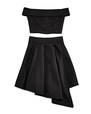 Miss Behave Girls OfftheShoulder Top  Asymmetrical Skirt Set  Big Kid
