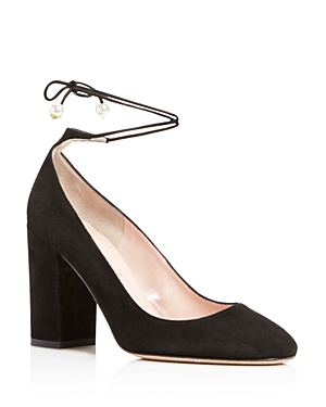 kate spade new york Gena Suede Ankle Wrap Block Heel Pumps