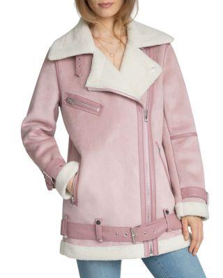 $Avec Les Filles Oversized Faux Shearling Moto Jacket - Bloomingdale's