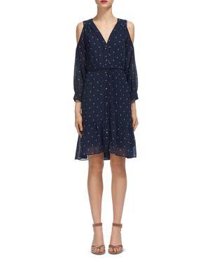 Whistles Cold-Shoulder Printed Dress