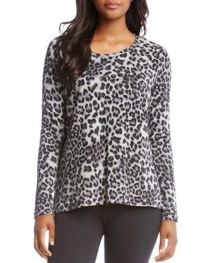 Karen Kane Leopard-Print Fleece Top