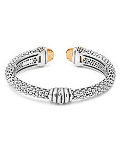 LAGOS - Sterling Silver & 18K Yellow Gold Caviar Cuff Bracelet with Citrine