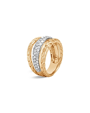 John Hardy 18K Yellow Gold Classic Chain Pave Diamond Ring