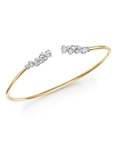 Bloomingdale's - Diamond Open Bangle Bracelet in 14K White Gold and 14K Yellow Gold, 1.20 ct. t.w. - 100% Exclusive