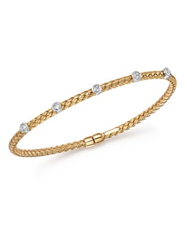 Bloomingdale's - Diamond Bezel Weave Flex Bangle in 14K Yellow and White Gold, .20 ct. t.w. - 100% Exclusive