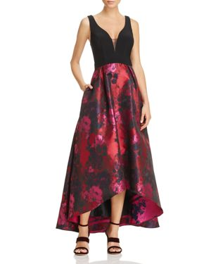 Avery G Floral High/Low Gown
