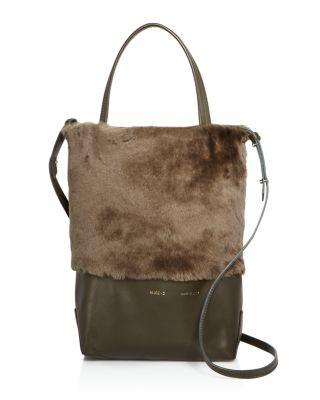Husky Small Shearling Tote, Military Green/Gold