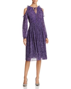 Michael Michael Kors Tweed Print Cold-Shoulder Dress