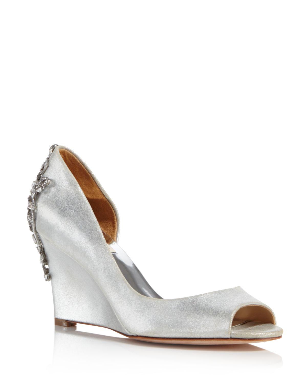 Badgley Mischka Meagan Embellished Peep Toe Wedge