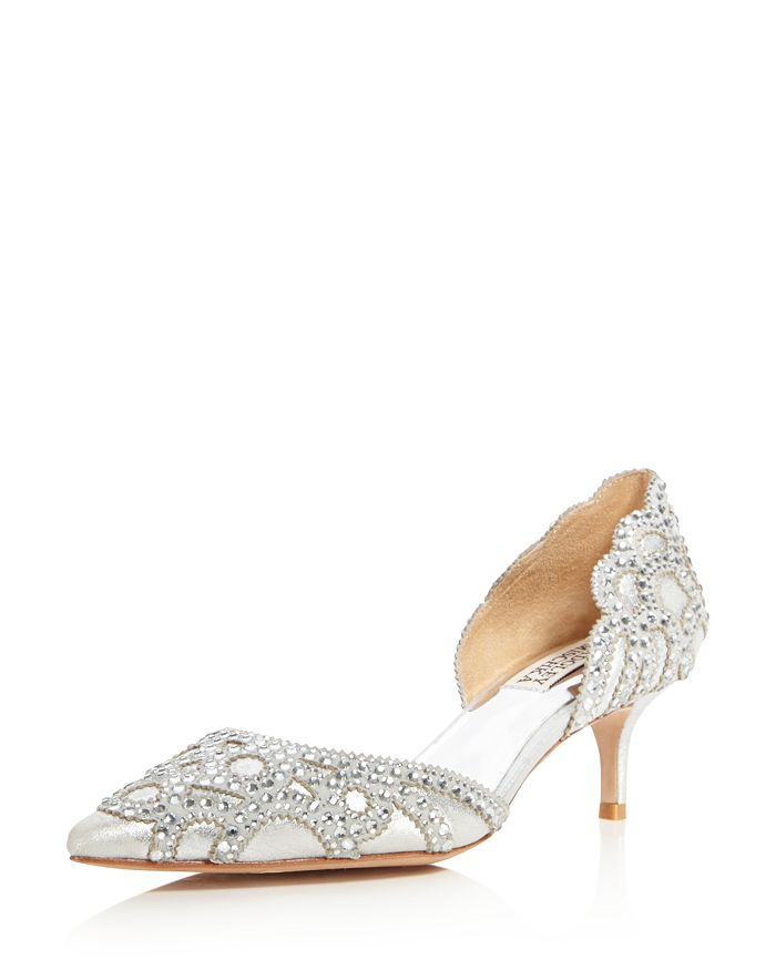 Badgley Mischka - Women's Ginny Metallic Suede Embellished d'Orsay Pointed Toe Pumps